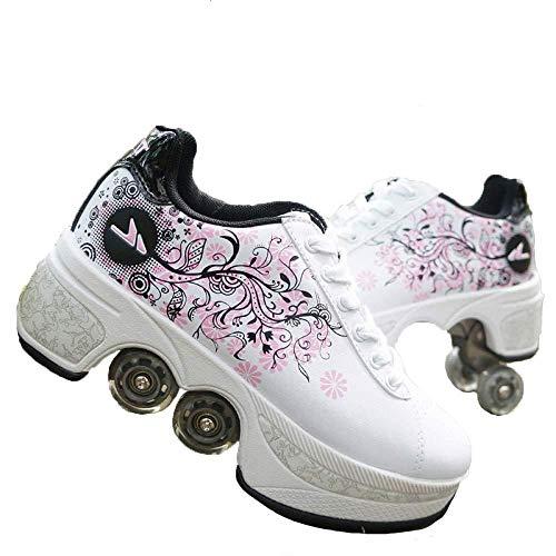 WEDSGTV Einstellbare Inline-Skates Rollerblades 2-in-1-Mehrzweckschuhe Stylisches Design Anfänger Einstellbare Quad-Skates-Stiefel Für Jungen Mädchen Räder Schuhe,White-35