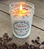 Vanilla Latte Aromatherapy Candle (8 oz) | All-Natural Soy Wax & Colombian Coffee Beans | Essential Oil Infused | Odor Eliminating + Relaxing | Handmade in The U.S.A. | Toxin Free