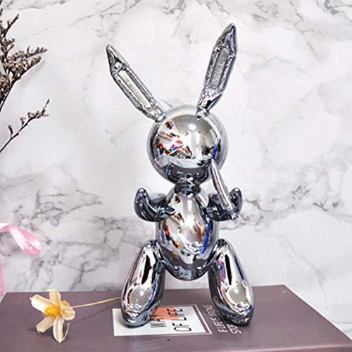 Silver Rabbit Balloon lapin abstrait résine Statu décor Art Sculpture Jeff Koons