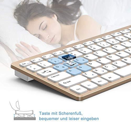 Jelly Comb Funkmaus und Tastatur Set, 2.4G Kabellose Ultraslim Mini Tastatur und Maus Combo, QWERTZ Deutsches Layout für MacBook, PC, Laptop, Smart TV, Weiß und Gold
