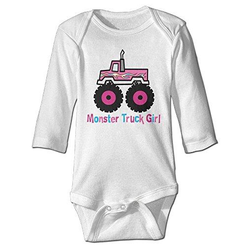 Arromper Monster Truck Girl Newborn Babys Long Sleeve Romper Bodysuit Outfits White 18 Months