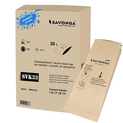 Savonga 20x Staubsaugerbeutel geeignet für Vorwerk Kobold 118, 119, 120,121, 122, VK 120, VK 121, VK118, VK119