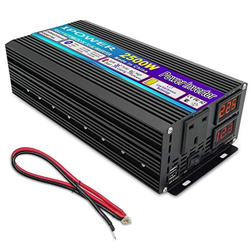 Inversor de Coche 12V / 24V DC a 230V / 240V AC 2500W Inversor de energía Solar de Onda sinusoidal modificada, 2 conversor USB Pantalla LED para el Barco de camión R