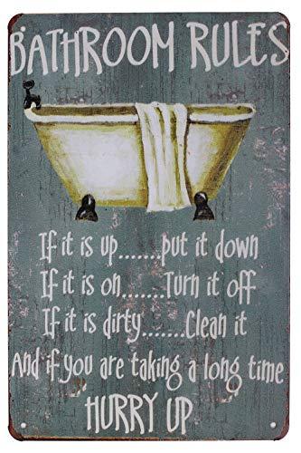 """Cartel de metal de Hioni Bathroom Rules, placa metálica con texto """"Slogan Art, decoración vintage para casa o cuarto de baño"""
