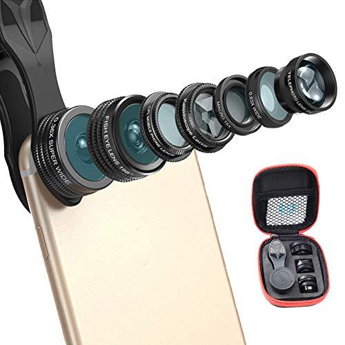 Camera-lensset voor mobiele telefoon, 7-in-1 set-telefoonlens, professionele fisheye 0.36x groothoek macro-CPL-lens voor mobiele telefoons
