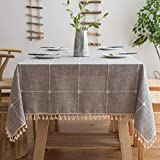 BUBIQUER Stitching Tassel Tablecloth, 55 x70 inch, Cotton Linen Fabric Wrinkle Free Anti-Fading Dust-Proof Washable Tabletop Decoration for Kitchen Party (Grey Grid)