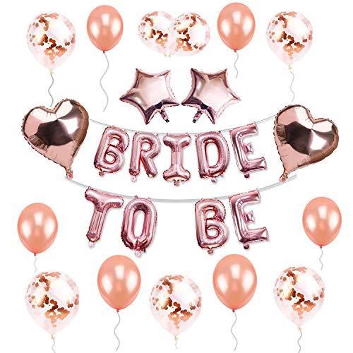 48 piezas de globos de novia a ser de 16 pulgadas, decoración de despedida de soltera, globos de látex de oro rosa, globos de confeti de oro rosa, globos de papel de aluminio con forma de corazón de estrella para decoración de fiesta de despedida de soltera