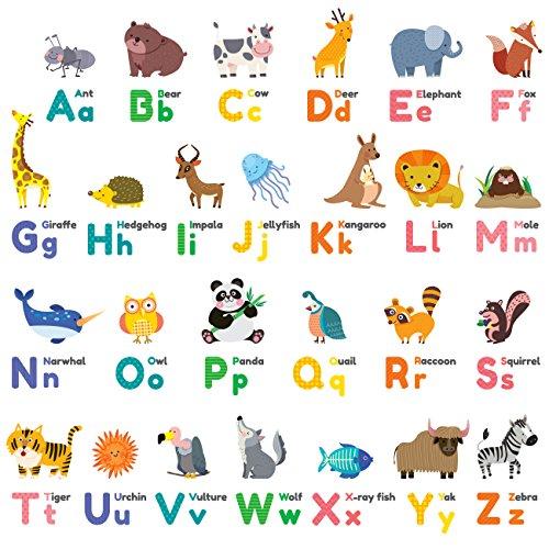 DECOWALL DW-1614 Farbenfrohes Englisch Tier-Alphabet Wandtattoo Wandsticker Wandaufkleber Wanddeko für Wohnzimmer Schlafzimmer Kinderzimmer