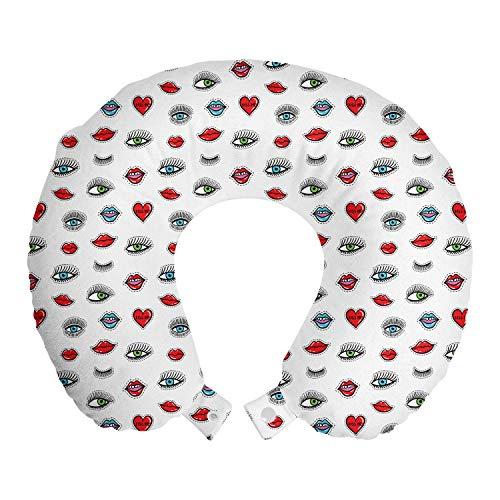 ABAKUHAUS Emoticon Cojín de Viaje para Soporte de Cuello, Corazones Ojos Labios de Belleza, de Espuma con Memoria Respirable y Cómoda, 30 cm x 30 cm, Multicolor