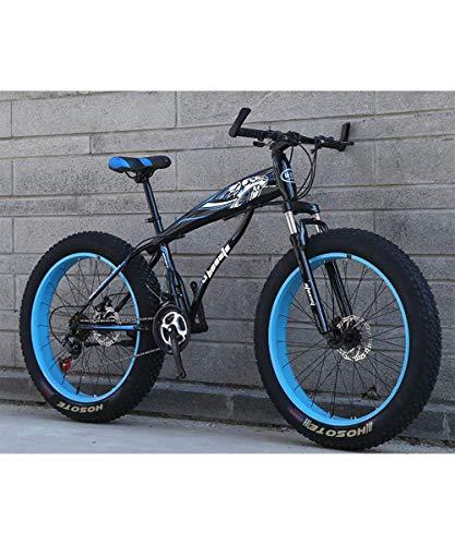 Fat Tire Mens Mountain Bikes, 26 inch Wheels 7/21/24/27 Speed Snow Bike Beach Bike, High-Tensile Carbon Steel Frame, Double Suspension