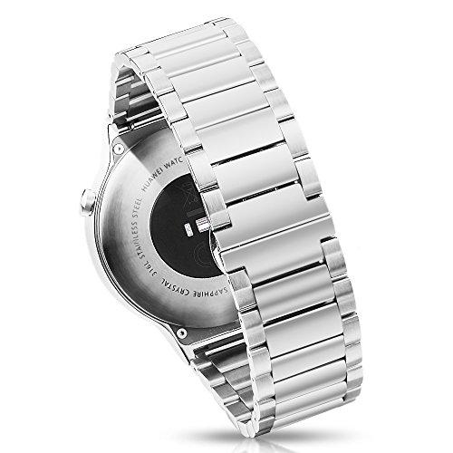 PINHEN Armband Kompatibel mit Huawei Watch 1st - 18mm Metall Uhrenarmband Edelstahl Ersatzband für Asus Zenwatch 2 1.45