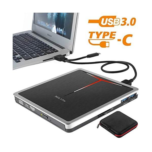 External CD DVD Drive NOLYTH 5-in-1 USB 3.0 Type-C CD DVD+/-RW Burner Writer Player...
