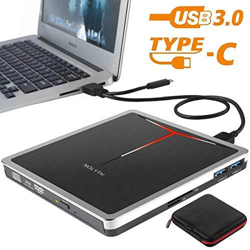 External CD DVD Drive NOLYTH 5-in-1 USB3.0 Type-C CD DVD Burner Writer Player Drive for Laptop Mac Desktop PC MacBook Pro Air Windows