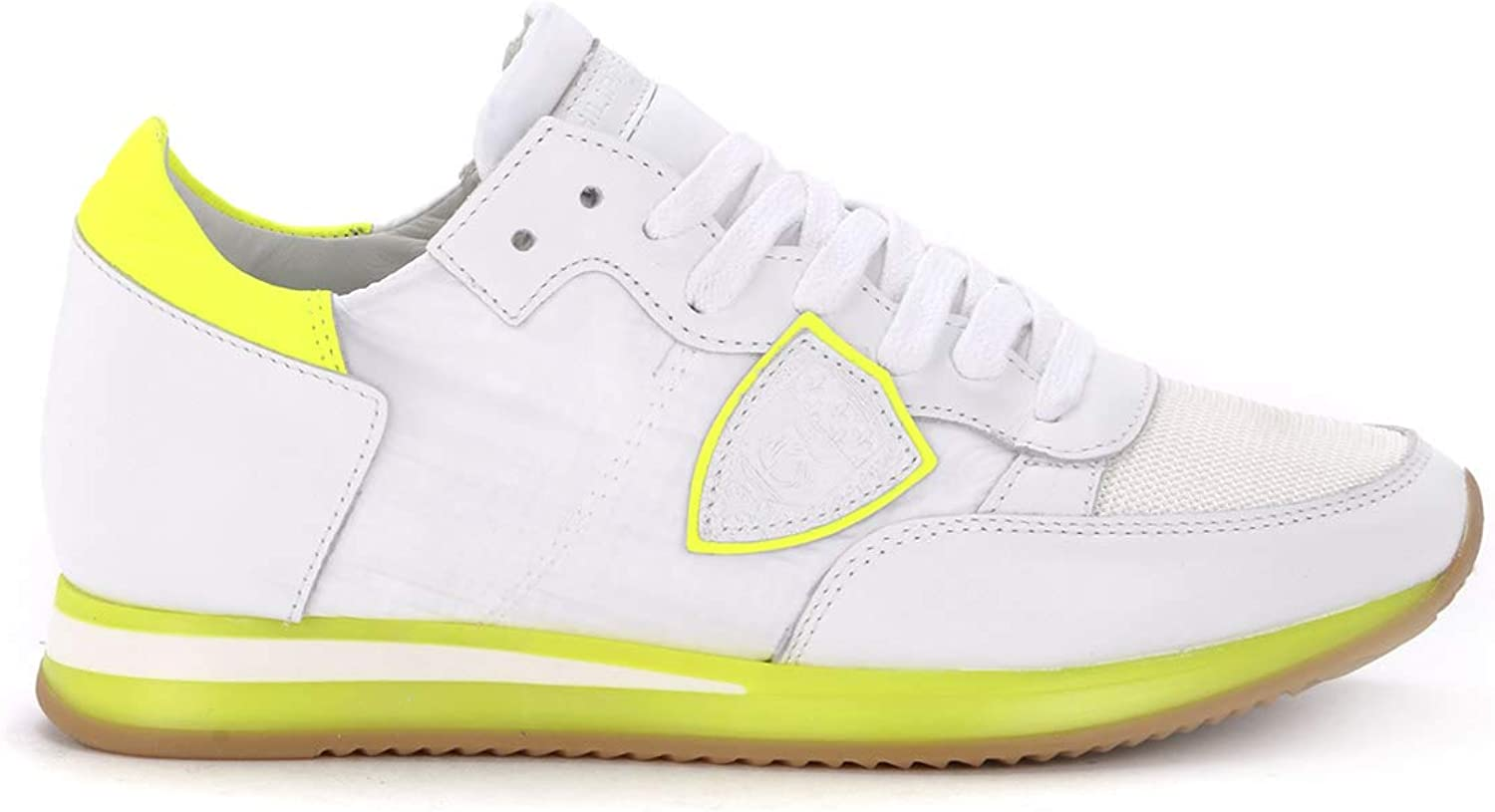 PHILIPPE MODEL Woman's Tropez Whiteand Fluo Yellow Fabric and Leather Sneaker