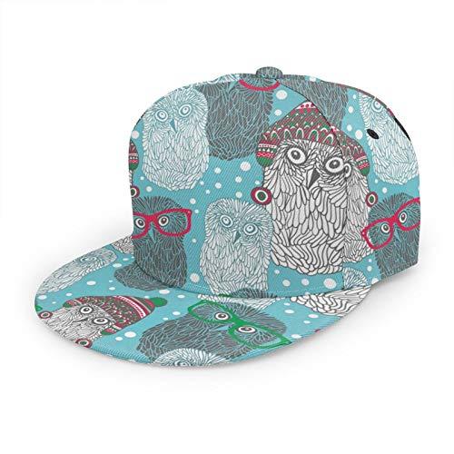 Gorra de béisbol de Bill Hipster Polar Owls 3D de ala plana ajustable Snapback Caps clásico deporte Hip Hop sombrero para hombres mujeres negro