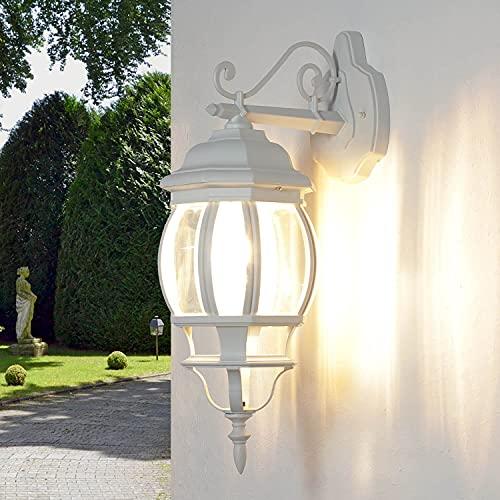 Applique rustica Brest per esterno vintage in bianco E27 lampada da parete stile antico perfetta per giardino, cortile, terrazzo e viale di ingresso