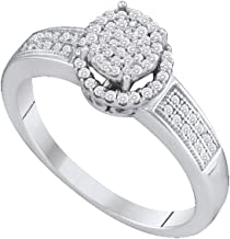 10K White Gold Diamond Halo Engagement Ring - Flower Shape Center Setting w/Invisible Channel Set Round Diamonds - (1/4 cttw)