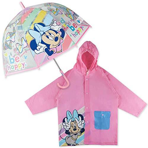 Paraguas Transparente Infantil y Chubasquero Pack Minnie Mouse – Paraguas Infantil Burbuja y Chubasquero Niña Impermeable con Capucha | Paraguas Transparente e Impermeable para Vuelta al Cole