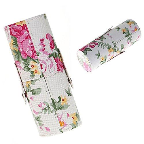 Tuzi Qiuge Rose Blumenmuster PU-Leder-Make-up-Pinsel-Set Lagerung Eimer, mittlere Größe