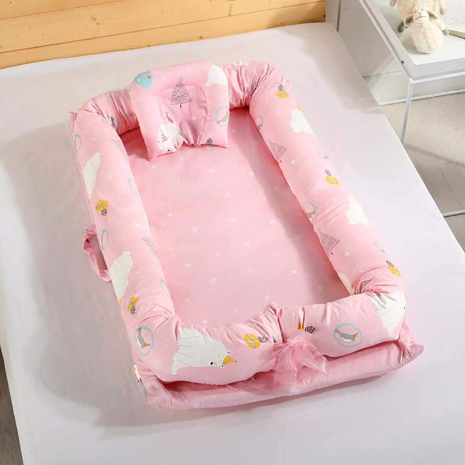 Crib Foldable Newborn Portable Bed Bionic Bed Removable and Washable for 0-2 Year Old Baby,D