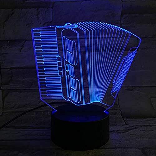 Luz nocturna 3D Symphony Luz óptica LED Acordeón Instrumento musical con cable USB básico Ajustable 7 colores Luz de cambio de habitación para niños Chica Familia Chica Regalo de cumpleaños Mesa