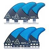 Naked Viking Surf Medium NV-5.2 Thruster Surfboard Fins (Set of 3) Blue Carbon Fiber, FCS
