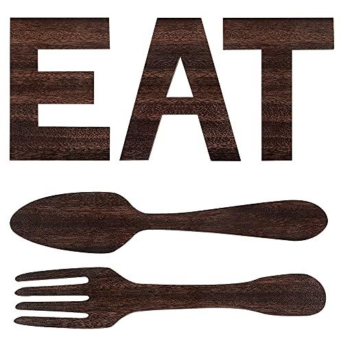 GerTong Letras de madera con tenedor y cuchara para colgar en la pared, decoración para cocina, sala de estar, comedor, decoración del hogar (marrón)