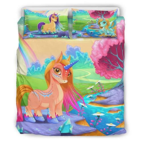 DOGCATPIG Ropa de cama estilo Unicornio de microfibra ligera estilo SoftCouple ropa de cama para los amantes blanco 90 x 90 pulgadas