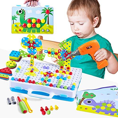 Paochocky Puzzle Bambini Costruzioni Giocattoli, Mosaico di Puzzle 3D, Giochi Costruzione Montessori per Bambini con Trapano Elettrico Regalo per Bambini 3 4 5 6 7 8 9 10 Anni