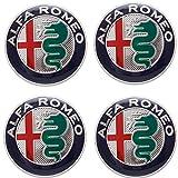 VS - 4 tapones adhesivos para tapacubos, 50 mm, para Alfa Romeo 147 156 GT Giulia My 2016, Mito Green, llantas de aleación