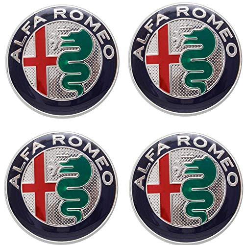 VS 4 Tappi Adesivi Coprimozzo 50mm per Alfa Romeo 147 156 GT Giulia My 2016 Mito Green Cerchi Lega Ruota Coppette