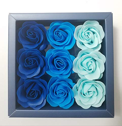 Box of Blue Flora Scented Roses Flower Bath Soap, Plant Essential Oil Rose Soap in Gift Box, Gift for Anniversary/Birthday/Wedding/Valentine's Day/Mother's Day 9 Pcs