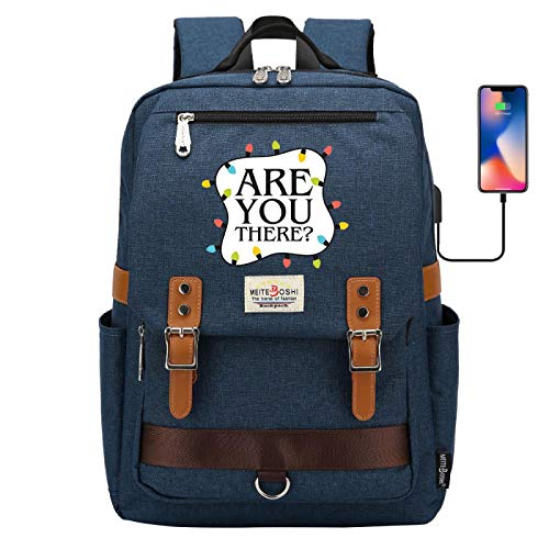 Canvas Backpack Food Meal Bag Portable Learning Backpack for 15 inch Laptop with USB Interface for Charging Large Darkblue
