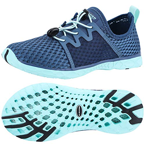 ALEADER Aquatic Water Shoes for Women, Sneakers for Walk, Hike, Run, Swim Navy/Aqua Sky 8.5 B(M) US