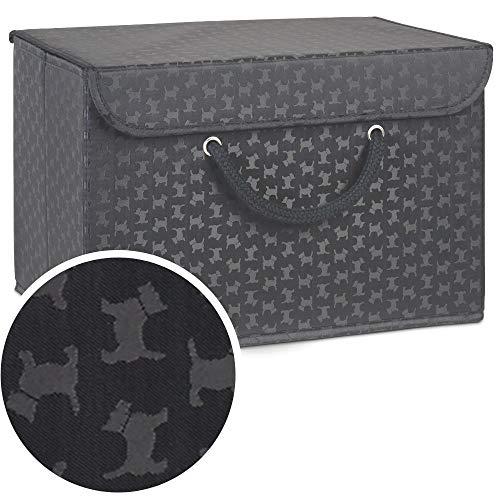 Magenta Magpie Aufbewahrungsbox mit Deckel und schwarzem Hundemuster-Extra breiter Griff-Sicher zu verschließen-Für Kleidung, Accessoires, Hundespielzeug und Leckerlis Tierliebhaber