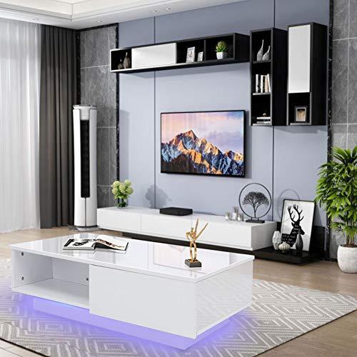 Mesa de café, moderna y brillante, mesa de café, mesa rectangular de salón blanca con luz LED, 16 colores, para mesa de té, decoración del hogar, 95 x 60 x 31 cm (EU 220 V)