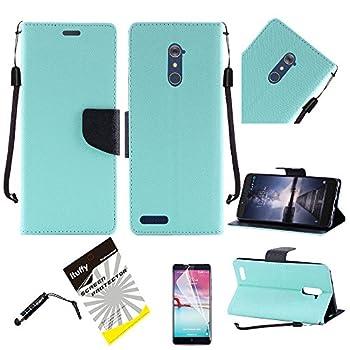 for ZTE ZMAX PRO Z981 /Ituffy 3items  LCD Film+Stylus Pen+Slim Portfolio Magnetic Closure Leather Wallet Case [ID Card Slots] [Kickstand]  Mint Black
