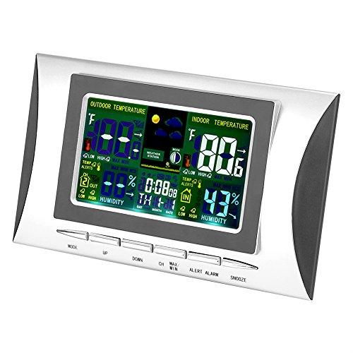Zyyini Binnenthermometer, draadloze multifunctionele temperatuurregelaar, met wekker en andere functies Temperatuurweergave (zonder batterij)