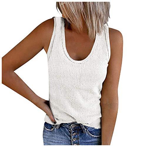 Masrin Solide Tanktops für Damen Ärmelloses Hemd mit U-Ausschnitt Sommer Lässige Rippenstrick-Trainings-T-Shirt-Bluse(L,Weiß)