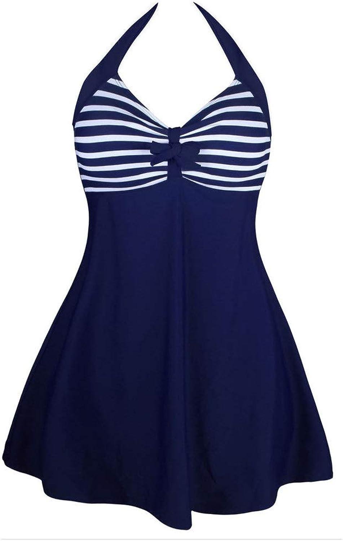 Women's OnePiece Swimsuit Vintage Sailor Up Swimsuit Plus Size Retro One Piece Swimdress One Piece Bikini Set Low Back Bathing Suit (color   bluee and White Stripes, Size   L)