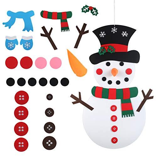 LANMOK 1pcs muñeco de Nieve de Fieltro DIY, Felt Snowman Navidad con 26pcs Ornamentos Desmontables Fiesta Niños...