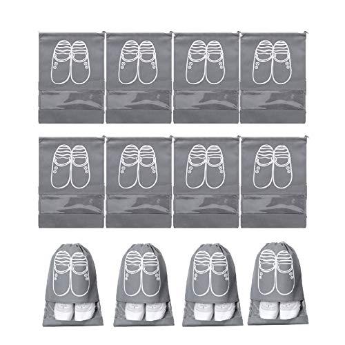 WACYDSD Bolsa de Zapatos Grises, Zapatos No Tejidos Bolsas De Almacenamiento con Cordón, Bolsa A Prueba De Polvo, Bolsa De Organizador Portátil para Mujeres & Hombres, Viajes & Diario -12 Unids