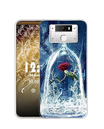 Sunrive Kompatibel mit Oukitel K10000 Pro Hülle Silikon, Transparent Handyhülle Schutzhülle Etui Hülle (Q Rose)+Gratis Universal Eingabestift MEHRWEG