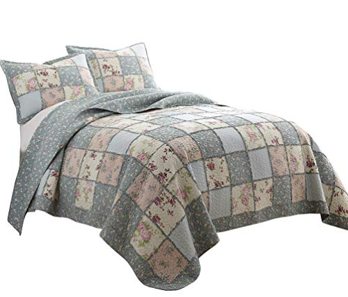 Chezmoi Collection Abbi 3-Piece Garden Floral Vintage Washed 100%-Cotton Reversible Patchwork Quilt Set (Queen)