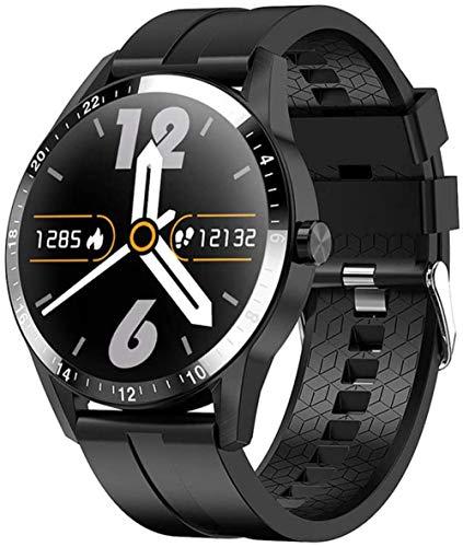 Bluetooth llamada reloj inteligente táctil completo impermeable sueño multi deportes pulsera hombres reloj inteligente silicona negro