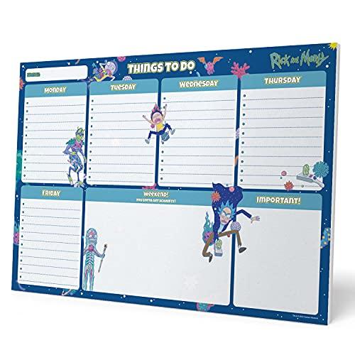 Grupo Erik BPSA40022 - Planning da Tavolo Rick & Morty Virus Attack, con planner settimanale e 54 fogli a strappo, perfetto come agenda appuntamenti