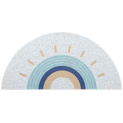 ZUQ Fußmatte Halbrunde, Eingangstürmatte rutschfeste Waschbar Schmutzfangmatte Weiche Türmatte Teppiche für Innen, Außen, Wohnzimmer, Innenhof Weiß 45x90 cm