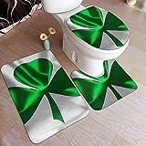 Alfombra lavable de la bandera irlandesa de 2 piezas, juego de 3 piezas, almohadilla en forma de U+tapa de inodoro en forma de O para bañera, baño, casa ducha