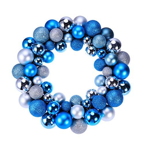 Happyyami Weihnachtskugel Kranz Girlande Ornamente Glitzer weihnachtsbaumkugeln Dekoration urlaubsparty tür hängende Dekoration Silber blau