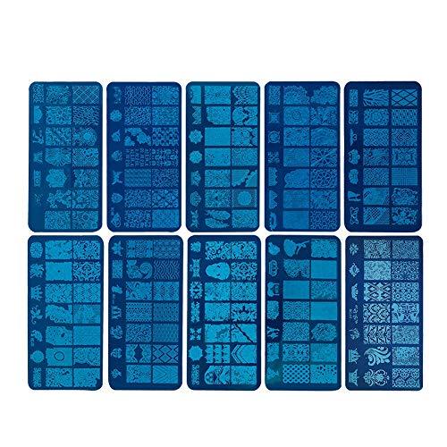 Yolispa 10 Piezas de Placa de Estampado de Uñas DIY Placas de Esmalte de Uñas Juego de Plantillas para Sellos de Rascador Accesorios para Arte de Uñas